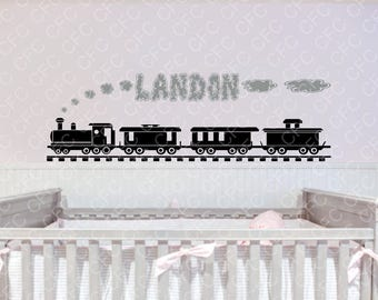 Personalized Train and Name Vinyl Wall  #1 Personalized Decal,Kids Wall Decal,Train Decal, custom wall Decal, Vinyl Wall Decal