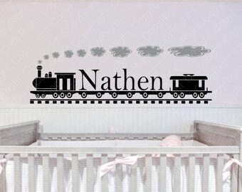 Personalized Train and Name Vinyl Wall  #2 Personalized Decal,Kids Wall Decal,Train Decal, custom wall Decal, Vinyl Wall Decal