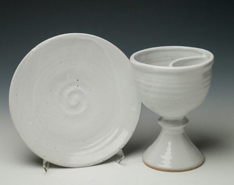 clay divided chalice set, ceramic divided intinction chalice and paten