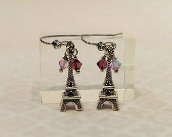 Antique Silver Eiffel Tower Earrings, Eiffel Tower Crystal Earrings