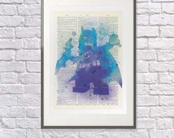 Lego Batman, Watercolor - Upcycled Vintage Dictionary Print - Poster - Perfect Gift - Nursery - Childrens bedroom Print / Picture