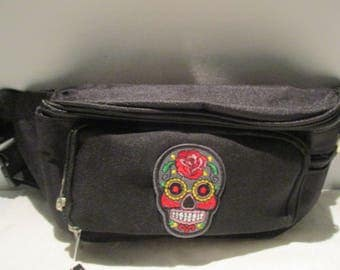 Black Fanny Pack 10x6 with Sugarskull   (WATER RESISTANT)