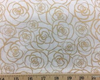 Gold Metallic Rose Outline on Antique White Floral Print Cotton Quilting Apparel Fabric a4/42