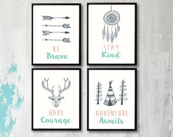 QUOTE Wall Art, Print Boy Nursery Decor, Be Brave, Stay Kind, Have Courage, Adventure Awaits, Set of 4 prints