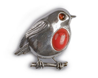 Henryka Coral and Silver Rockin' Robin Brooch