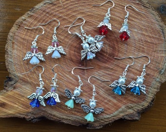 Angel earrings on silver earwires