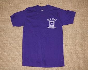 Vintage 1970's - NYU T Shirt - Size Small Womens - Velvet Logo - Purple - New York University Vintage Tshirt
