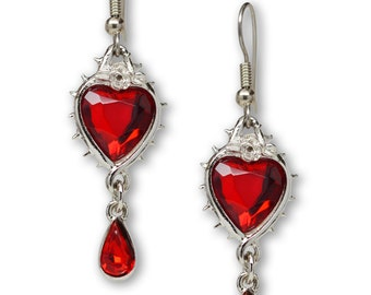 Red Heart and Teardrop Crystals Surrounded by Roses and Thorns Dangle Earrings #1048