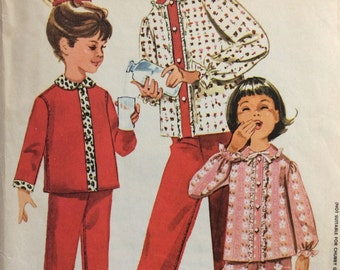 McCall's 6067 vintage 1960's girls pajamas sewing pattern size 12 bust 30  Designed by Juli of Slumbertogs