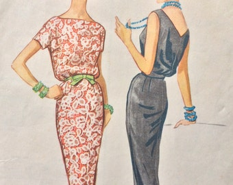 McCall's 4477 vintage 1950's misses sheath dress sewing pattern size 12 bust 32