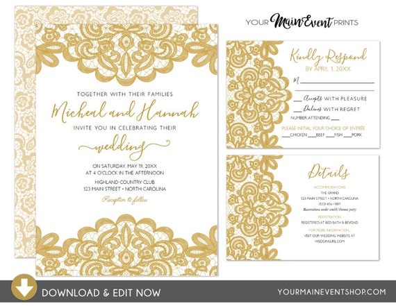 Gold Lace Wedding Invitation Set - Gold & Black Lace Classy RSVP Card, Details Card - Elegant Instant Download Edit Yourself