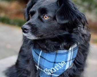 Carolina Blue and Navy Plaid Dog Bandana || Plaid Flannel Pet Scarf || Personalized Holiday Gift by Three Spoiled Dogs