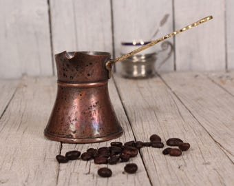 Hand hammered copper coffee pot Authentic Turkish coffee pot Engraved copper Rack hanging pot Ornate cooper coffee pot Rustic kitchen decor