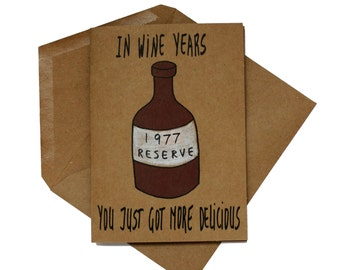 wine 40th birthday card for wife - born in 1977 birthday card - funny birthday card 40 - wine lover birthday card best friend - made in 1977
