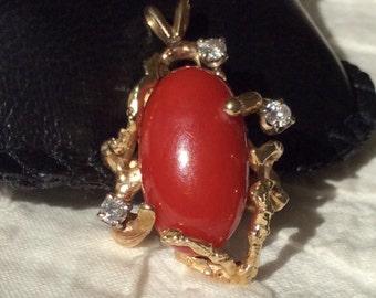 1970's DIAMOND and OXBLOOD CORAL Pendant