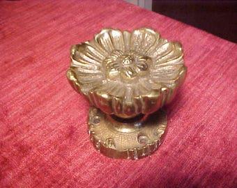 Brass Door Knob and Escutcheon Poppy or Daisy Floral  Shape