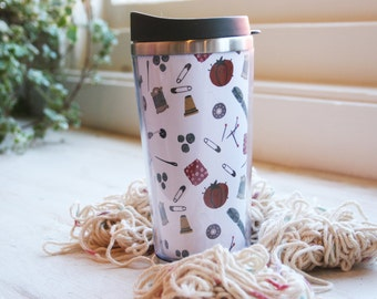 Sewing Kit Illustrated 12 oz. Stainless Steel Travel Coffee Tumbler
