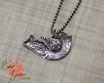 READY to SHIP - Silver Bird Necklace, Sterling Silver and Fine Silver, PMC, Birdie