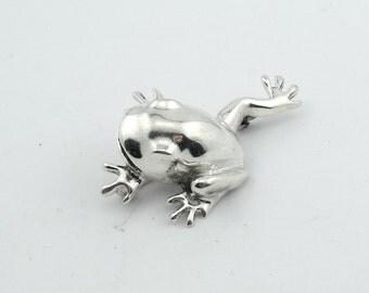 Playful Frog Sterling Silver Vintage Broach  #FROG-BR1