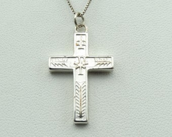 Reversible Solid Sterling Silver Vintage Cross On A 18 Inch Sterling Silver Chain!   #SOLID-XP3