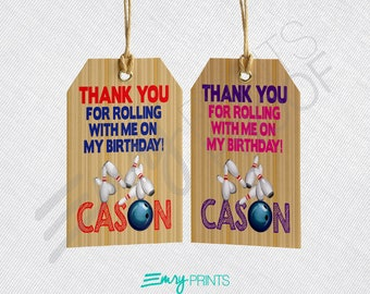 Bowling Favor Tags, Bowling Thank You Tags, Bowling Birthday Party Gift Tags, Bowling Birthday, Bowling Gift Tag, Bowling Thank You Tag