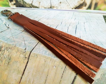 Leather  Tassel Key Chain or tag for the women's bag, gift for friends