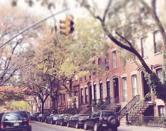 New York City, Photography Print, NYC Picture, Greenwich Village, Street Photo, Autumn Decor, Wall Art, Brownstone Buildings, 8 x 10 Print,
