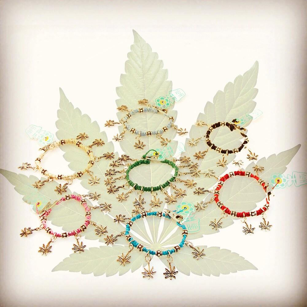 Marijuana Rocks Hoti Hemp Handmade Metal Spike Bead Mary Jane Pot Leaf  Roach Clip Turquoise Hemp Charm Bracelet Hand Crafted Toronto Clip It