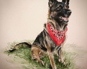 8x10 Custom Pet Watercolor