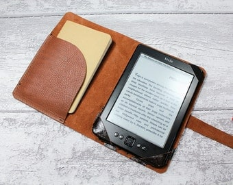 KINDLE PAPERWHITE cover - kindle case - Kindle cover - chrome tanned italian leather RUSSET colour - Handmade by Valentina