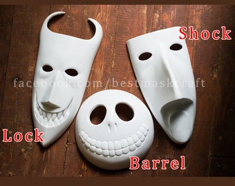 Read info before order inspired Lock Shock Barrel masks UNPAINTED Nightmare Before Christmas movie animation halloween