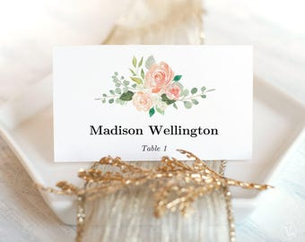 peach blush floral printable wedding place cards and escort cards includes foldover tent and flat