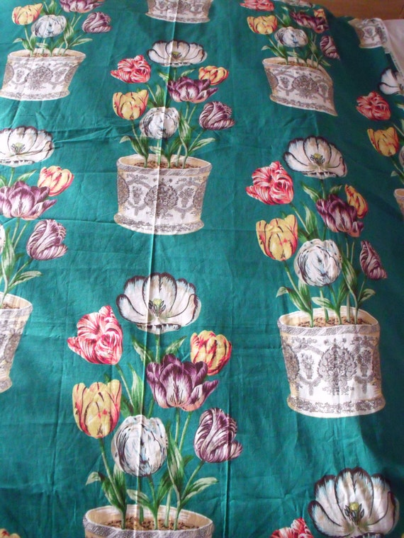 Tulip fabric, vintage green tulip bowl cotton remnant, limited edition print, cotton material, 1989, retro vintage, cottage chic