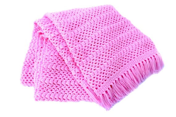 Ready to Ship**Free Shipping**/Crochet Blanket/Pink Blanket Throw Afghan/Knit Knitted Light Pink Afghan Throw Blanket/Baby Pink Afghan Throw