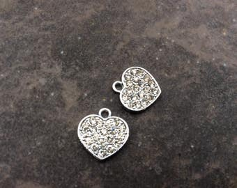 Pave Rhinestone Heart Charms package of 2 13mm x 13mm Perfect for Adjustable bangle bracelets!