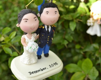 Small figurine. Bride and Army Groom. Hanging ornament. Handmade. Fully customizable. Unique keepsake