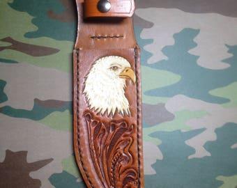 Hand tooled leather knife sheath with Eagle
