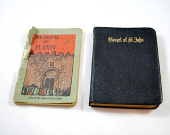 Antique Gospel of St. John LOT of 2 Antique Books American Bible Society 1906 One of the Gates of Jerusalem 1929