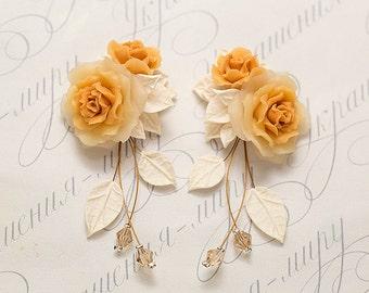 Amber Rose earrings. Сascade earrings. Flower earrings. Dangle rose earrings. Polymer clay jewelry. Rose jewelry. Bridesmaids gift