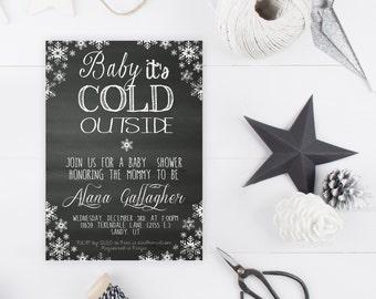 Baby Shower Invitation, Printable Baby Shower Invitation, Winter Baby Shower Invite, Snowflake Invitation, Chalkboard Invite, Baby [134]