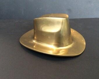 Vintage Brass Cowboy Hat Paperweight