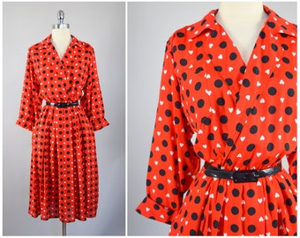 vintage 1990s Leslie Fay dress | x-large | vint 90s heart print dress | polka dot wrap dress | evening dress | party dress | pleated skirt