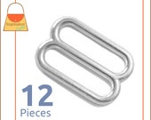 """1 Inch Slides for Purse Straps, Nickel Finish, 12 Pieces, Handbag Purse Bag Making Hardware Supplies, One Inch, 1"""", BKS-AA111"""