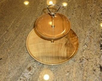 Vintage Myrtlewood 2 Tier Tray Solid Wood Platter Oregon Coast Myrtle Wood Serving Trays Brass Handle
