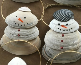 Shell Snowman Ornaments
