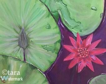 """Red Lotus 11""""x14"""" original acrylic painting"""