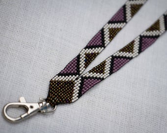 Beaded Lanyard, ID holder, Badge Holder, Diamonds