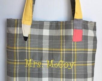 Reversible Teacher Tote Bag Personalized, Plaid Tote, Trendy Teacher, Gift for Teacher, Chevron Tote, Chevron tote bag, Pencil Strap Bag,