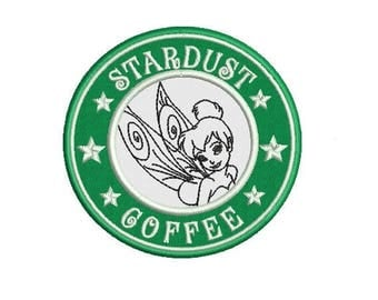 Fairy Stardust Coffee Applique Design in 3 Sizes - INSTANT DOWNLOAD