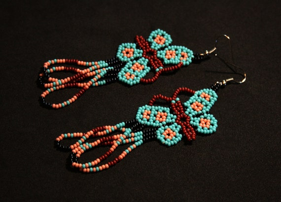 Turquoise Pink Butterfly Earrings, Huichol Earrings, Huichol Jewelry, Mexican Earrings, Native Beaded Butterfly Earrings, Seed Bead Earrings